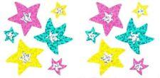 ~ Stars Inside Star Pink Green Yellow Glitter Sandylion Stickers Small ~