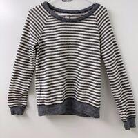 Victoria's Secret Women XS Cotton Crewneck Striped Gray White Pullover Sweater