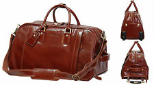 Wheeled holdall REAL Leather Duffle Gym Cabin Travel Hand Luggage Weekend Bag