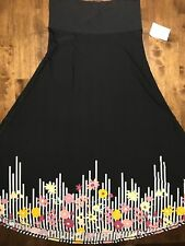 LARGE LuLaRoe MAXI DIPPED SKIRT black floral striped yellow purple pink NWT L