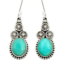 7.50cts Natural Green Peruvian Amazonite 925 Silver Dangle Earrings D40639