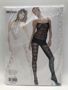 Music Legs Sheer Designed Crotchless Bodystocking Style No 1100 One Size Black