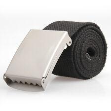 Mens Black Webbing Web Military Style Cotton Canvas Belt Metal Buckle Waist Band