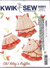 Kwik Sew  Pattern K3901  Apron Dress  and Ruffled Bloomers for sizes  NB to 2yrs