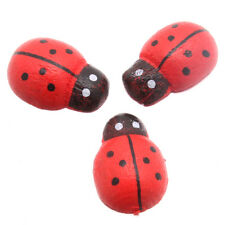 200x New Sale Red Ladybird Wooden Embellishments Scrapbooking Jewelry Making LC