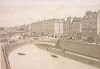 PARIS Place du Petit Pont Seine River in 1880 - Litho Antique Print
