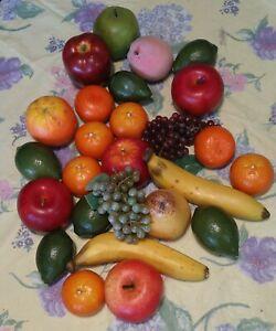 Lot of 26 Pieces of ArtificialFake Fruit ~ Oranges Apples Limes Grapes Bananas