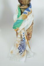 Vtg Hand Painted Silk Scarf signed Karen blue and green leaves hand rolled edges
