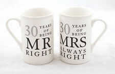 30th Pearl Wedding Anniversary Gift Set of Mugs 'Mr Right & Mrs Always Right'
