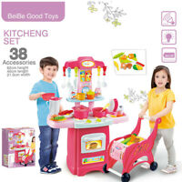 Girls Kids Plastic Kitchen Toy Toddler Role Play Cooking Kitchenware Playset US