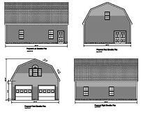26'X36' Gambrel Roof Plan 36'X26' Gambrel Barn Garage Prints #17-2636Gmb-2 (Trp)