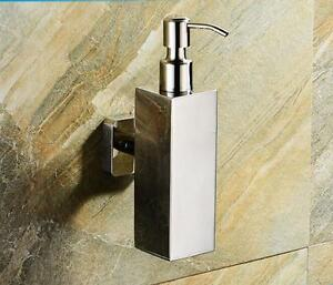 Stainless Steel Bathroom Soap Dispenser Bath Liquid Bottle Wall Mounted Holder