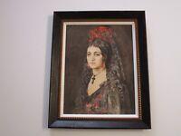 ANTIQUE PORTRAIT PAINTING GORGEOUS ART DECO WOMAN FEMAL MODEL VEIL RAYMOND PERRY