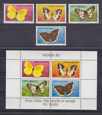 Turkey Sc 2421-2424a MNH. 1988 Butterflies + Souvenir Sheet