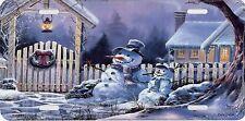 SNOWMEN FRONT YARD SCENE DECORATIVE LICENSE PLATE