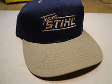 Team STIHL Hat Ball Cap Tan over Blue Adjustable Brand LOGO Embroidery NEW