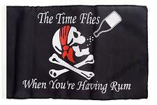 Pirat The Time Flies When You are Having Rum Banner Piraten Fahnen Flaggen 30x45