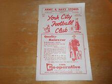 YORK CITY  v  SOUTHPORT  1957/8  DIVISION 3 (NORTH) ~ APRIL 7th    VINTAGE