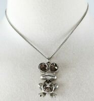 """1960's Rare Frog Necklace Pendant With Hinged Eyeballs And 18"""" Chain - Excellent"""