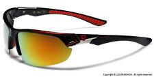 Polarized Wrap Around Sport Men Fishing Golf Sunglasses Black with Mirrored Lens