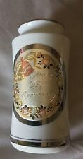 Chokin Happy 25th Anniversary Porcelain Ware Vase From Japan 24K Gold Edged New