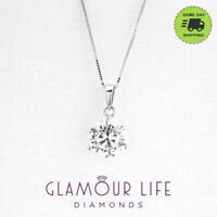 "1 Ct Round Cut Diamond in Solid 14k White Gold Solitaire Pendant 18"" Necklace"