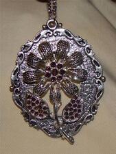 Striking Scallop Rim Purple Violet Glittery Flower Silvertone Pendant Necklace