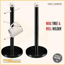 Stainless Steel Mug Tree Stand Kitchen Towel Paper Roll Pole Holder Set Black