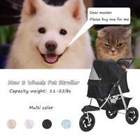 3 Wheels Pet Stroller Cat Dog Cage Jogging Stroller Safe Travel Folding Carrier