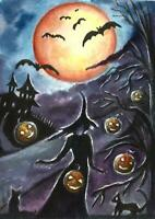 ACEO Halloween moon witch pumpkin painting original Fantasy watercolor art card