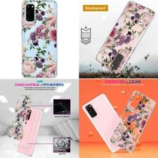 Spevert Galaxy S20 Case, Flower Pattern Printed Clear Design Transparent Hard Ba