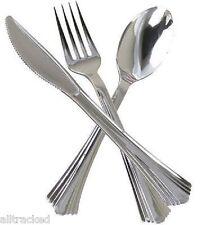 144 cubiertos de plástico desechable Plateado Metal Aspecto Metálico Cuchillos, Tenedores, Cucharas