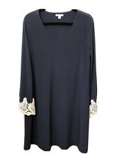 Cato's Women's Long Sleeve With Lace, Blue Dress Size Medium