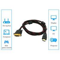 1080P HD AV Adapter Cabel HDMI Male to VGA Male Lead 1.5m/6ft Black NEW CHA