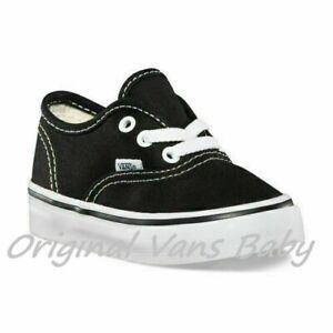VANS AUTHENTIC Black-White Canvas Infant Toddler Boy Girl Shoe (VN000ED9BLK)