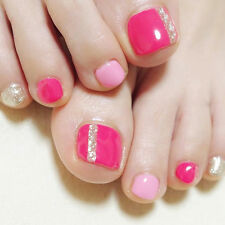 New 24Pcs 3D Fashion Pink Lady Shimmer Sexy French Fake False ToeNails Glue T144