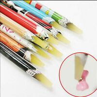 Rhine stones Picker Pencil Nail Art Gem Crystal Pick Up Tool Wax Pen Long AU114