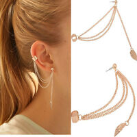 2x Fashion Women Punk Rock Leaf Chain Tassel Dangle Cuff Wrap Earring Ear Stud F