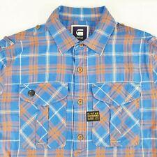 G Star Raw Men's Long Sleeve Casual Shirts Plaids Blue/Orange Size L