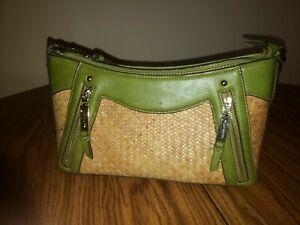 Wicker Rutan Woven Leather Avocado Green Purse 1970's Vintage 3 Pocket Lined