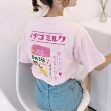 Women Harajuku Kawaii T-shirt Strawberry Milk Box Fairy Kei Short Sleeve Tops