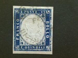 1863 Regno d'Italia: 15c., tipo Sardegna, non dentellato, usato, Unificato 10