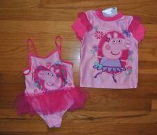 Nwt Peppa Pig Pink 2 Pc Set Rashguard Tutu Swimsuit Upf 50+ Size 2T