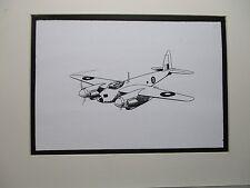 British De Havilland Mosquito artist pen ink drawing 1964 New York Worlds Fair