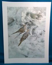 """""""Early Snow Morning Doves"""" by Raymond Ching, 1982 Ltd. Edition Print"""