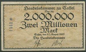 Kassel Handelskammer 2 Millionen Mark 27.8.1923, Brendel 54 a gebraucht (K676)