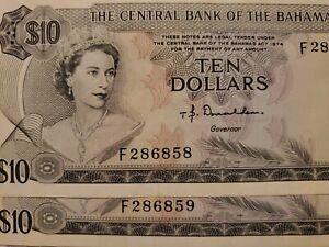 1974 Set Of 2 Consecutive Banknotes 10 Dollars Of The Bahamas