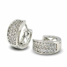 9ct White Gold Filled Hoop Earrings with White CZ Crystals Womens Snap Closure