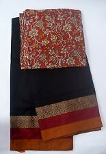 South Cotton pure handloom saree - Black with Red and Orange border