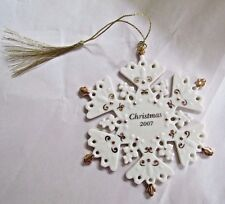 Lenox 2007 Fine China 24 Karat Gold Snowflake Christmas Ornament New Boxed